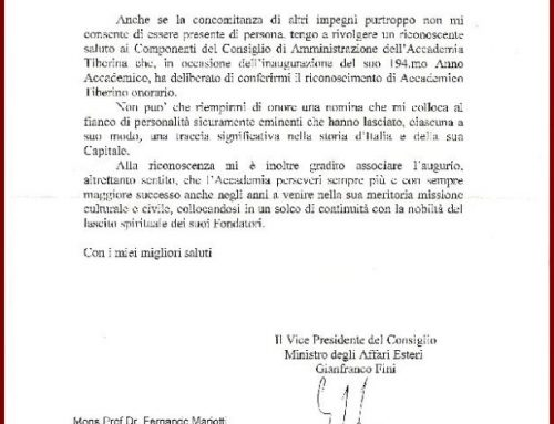 Dal Ministro degli Affari Esteri On Gianfranco Fini